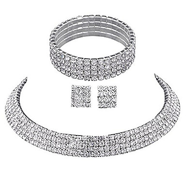 cheap Hair Jewelry-Women's Jewelry Set Choker Necklace Necklace Layered Ladies Luxury Elegant Fashion Bridal Multi Layer Rhinestone Earrings Jewelry Silver For Wedding Party Anniversary Daily Casual Masquerade