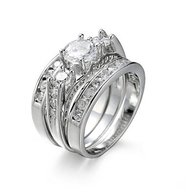 billige Motering-Dame Smykke Sett Ring Forlovelsesring Kubisk Zirkonium Syntetisk Diamant Hvit Zirkonium Kubisk Zirkonium Stål Europeisk Elegant Bryllup jubileum Smykker