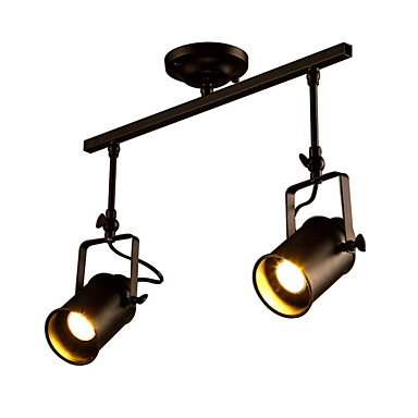 โคมไฟเพดานวินเทจ, โคมไฟอุตสาหกรรม 2 ดวงสำหรับห้องนั่งเล่นห้องรับประทานอาหารห้องโถงห้องโถงห้องโถงร้านขายเสื้อผ้าไฟสปอตไลท์
