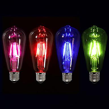 preiswerte Dekoration Glühbirnen-1pc 4 W LED Glühlampen 360 lm E26 / E27 ST64 4 LED-Perlen COB Dekorativ Rot Blau Grün 220-240 V / 1 Stück / RoHs