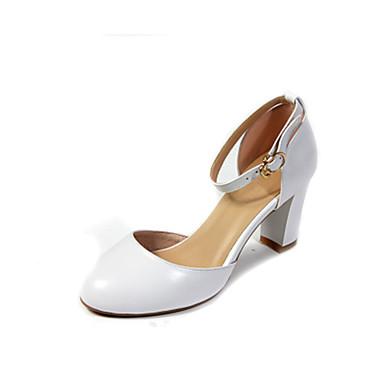 Mujer Zapatos Cuero de Napa Verano Confort Sandalias Tacón Cuadrado Blanco / Negro / Almendra Pas Cher 100% Garanti Bo5OSv