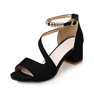 สำหรับผู้หญิง รองเท้าแตะ Sandals ส้นรองเท้า ส้นหนา / Block Heel ที่สวมนิ้วเท้า / เปิดนิ้ว ของประดับด้วยลูกปัด / หัวเข็มขัด หนังเทียม ความสะดวกสบาย / เท้าไฟ / รองเท้าคลับ ฤดูใบไม้ผลิ / ฤดูร้อน