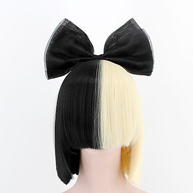 Synthetic Wig Straight Style Capless Wig Black Natural Black Synthetic Hair Women's Black / White Wig Short Cosplay Wig