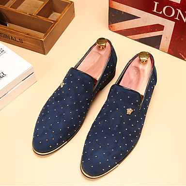 cheap Men's Slip-ons & Loafers-Men's Dress Shoes Spring / Fall Business / Classic Wedding Daily Party & Evening Loafers & Slip-Ons Walking Shoes Leather Wear Proof Blue / Black / Beading / Office & Career / EU40