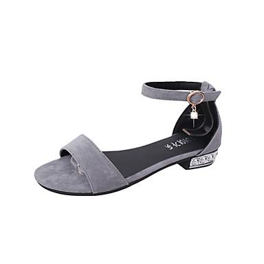 Mujer Zapatos PU Verano D'Orsay y Dos Piezas Sandalias Tacón Plano Negro / Gris SOk8hLKuT