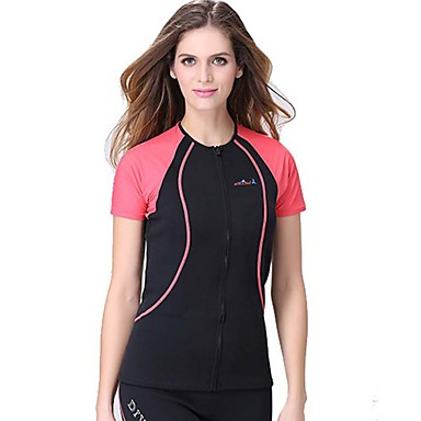 Dive&Sail สำหรับผู้หญิง Rash Guard 1.5มม. ระบายอากาศ แห้งเร็ว ออกแบบตามสรีระ แขนสั้น การว่ายน้ำ การดำน้ำ คลาสสิก ฤดูร้อน / ยืด