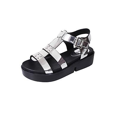 Mujer Zapatos Semicuero Verano Mary Jane Sandalias Paseo Tacón Bajo Dedo redondo Blanco / Negro / Plata mwujbX8Q