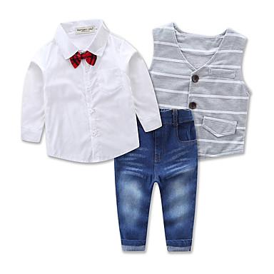 povoljno Odjeća za dječake-Dijete koje je tek prohodalo Dječaci Na prugice Svečana odjeća Party Dnevno Formalan Jednobojni Prugasti uzorak Dugih rukava Regularna Normalne dužine Pamuk Komplet odjeće Sive boje