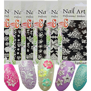 1pcs Full Nail Stickers nail art Manicure Pedicure Lace Flower / Nail Decals Daily