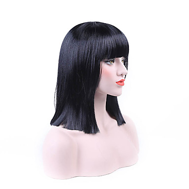 Synthetic Wig Women's Straight Black Bob Synthetic Hair Middle Part Bob Black Wig Short Capless Natural Black