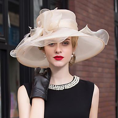 voordelige Hoeden-Tule / Veer Kentucky Derby Hat / hikinauhat / fascinators met Bloem 1pc Bruiloft / Speciale gelegenheden  / ulko- Helm