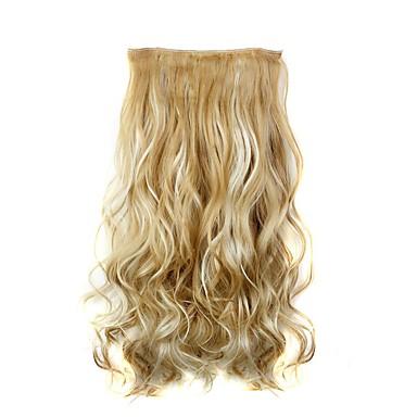 """levne Syntetické příčesky-Hair kus Kudrny Vlnitá Klasický Umělé vlasy 22"""" Prodlužování vlasů Připínací syntetický Dámské Denní"""