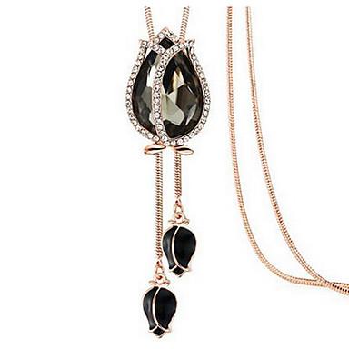 povoljno Modne ogrlice-Žene Onyx Kristal Ogrlice s privjeskom Cvijet faceter Cvijet Moda Euramerican Krom Crn Dark Blue Svjetloplav Ogrlice Jewelry Za Vjenčanje Party Rođendan Čestitamo