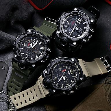 levne Pánské-Pánské Sportovní hodinky Vojenské hodinky Náramkové hodinky japonština Digitální Silikon Černá / Zelená / Khaki 30 m Voděodolné Alarm Kalendář LED Analog - Digitál Vintage Na běžné nošení Skládan