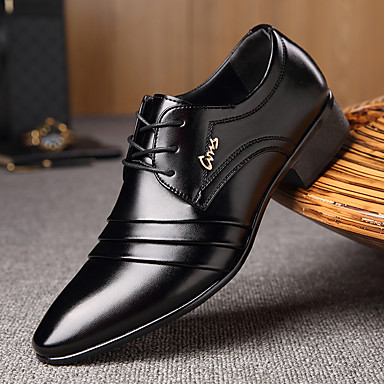cheap Men's Oxfords-Men's Dress Shoes Derby Shoes Spring / Fall Business / Classic Daily Office & Career Oxfords Walking Shoes Microfiber Wear Proof Black Slogan / EU40