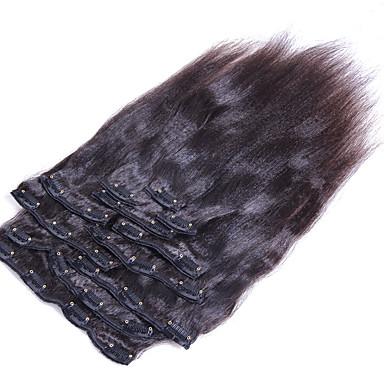 preiswerte Anklippbare Haarverlängerungen-Mit Clip Haarverlängerungen Glatt Echthaar Echthaar Haarverlängerungen Brasilianisches Haar Damen Natürlich Schwarz