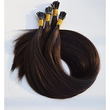 levne Příčesky z pravých vlasů-Fusion / I Tip Rozšíření lidský vlas Volný Přírodní vlasy Tmavě hnědá