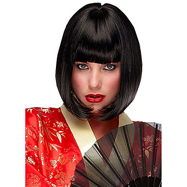 Synthetic Wig Straight Style Bob Capless Wig Black Natural Black Synthetic Hair Women's Middle Part Bob Black Wig Short