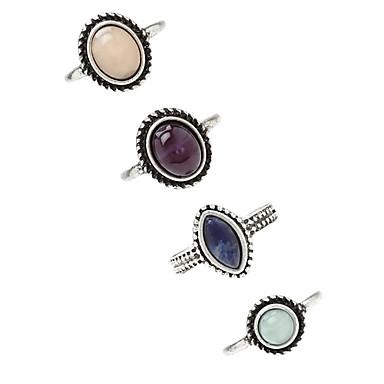 billige Motering-Dame Ring 4stk Sølv Legering Geometrisk Form damer / Uvanlig / Asiatisk Fest Kostyme smykker