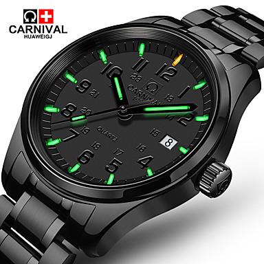 preiswerte Bis zu 70 % REDUZIERT-Carnival Herrn Uhr Armbanduhr Quartz Edelstahl Schwarz 30 m Armbanduhren für den Alltag Analog Luxus Klassisch Modisch Aristo Einfache Uhr Schwarz