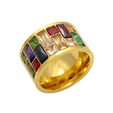 billige Motering-Herre Band Ring Gull Sølv Rose Agat Strass Titanium Stål Rektangulær damer Personalisert Geometrisk Julegaver Fest Smykker / Gullbelagt