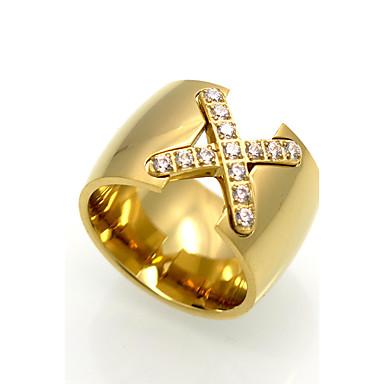 voordelige Herensieraden-Heren Ring duimring Kubieke Zirkonia Goud Zilver Roos Kubieke Zirkonia Titanium Staal Geometrische vorm Dames Gepersonaliseerde Meetkundig Bruiloft Feest Sieraden