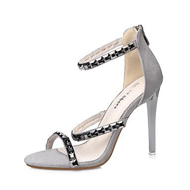 Mujer Zapatos Ante Verano Confort / Pump Básico Sandalias Tacón Stiletto Negro / Almendra awDjG4lu