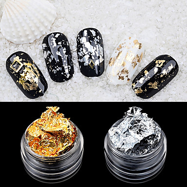 cheap Nail Stickers-2pcs foil nail art decoration golden silver foil
