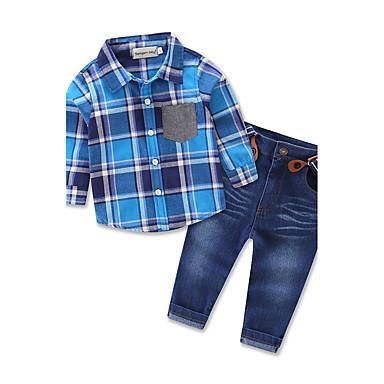 povoljno Odjeća za dječake-Dijete koje je tek prohodalo Dječaci Karirani uzorak Party Dnevno Izlasci Karirani uzorak Print Dugih rukava Regularna Normalne dužine Pamuk Komplet odjeće Plava