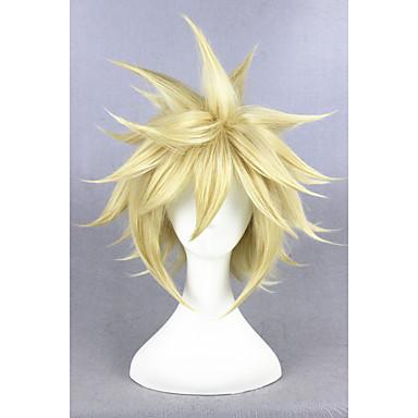 billige Kostymeparykk-Syntetiske parykker Kostymeparykker Rett Stil Parykk Blond Kort Gyllen Blond Syntetisk hår Dame Blond Parykk