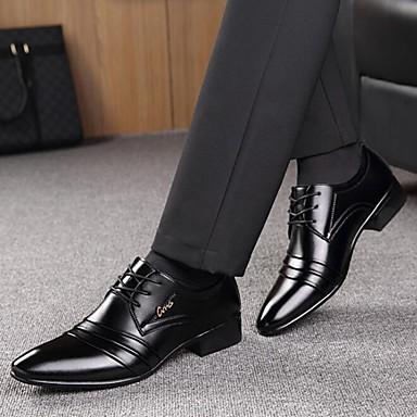 preiswerte Herrenschuhe-Herrn Formal Schuhe Mikrofaser Frühling / Herbst Geschäftlich Outdoor Walking Schwarz / Schnürsenkel / Kombination / Komfort Schuhe / EU40
