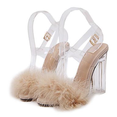 293740f212 Mulheres Jelly Sandals PVC Verão   Outono Conforto   Inovador   Sapatos  clube Sandálias Caminhada Salto Alto de Cristal Dedo Aberto Penas    Presilha ...