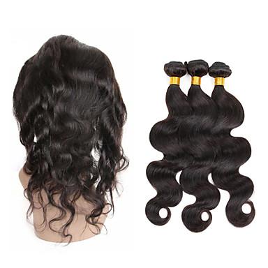 povoljno Ekstenzije od ljudske kose-3 paketi s zatvaranjem Peruanska kosa 360 Frontal Tijelo Wave Ljudska kosa Ljudske kose plete Isprepliće ljudske kose Rasprodaja Proširenja ljudske kose
