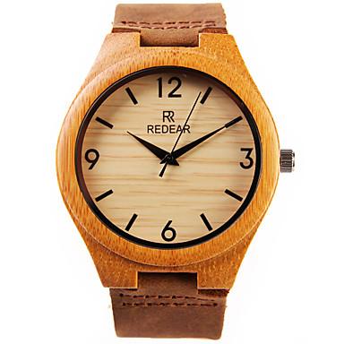 levne Pánské-Pánské Náramkové hodinky Křemenný Japonské Quartz Kůže Hnědá Cool dřevěný Analogové