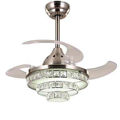 Modern Contemporary Crystal Dimmable Led Dimmable With Remote Control Ceiling Fan Ambient Light