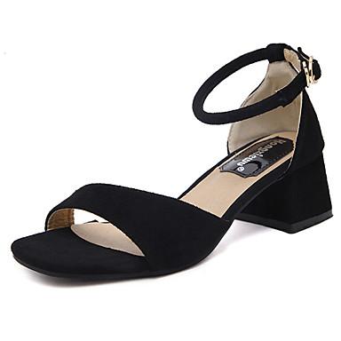 Mujer Zapatos Cuero de Napa Verano Confort Bailarinas Talón de bloque Punta cerrada Negro / Rojo / Verde 5KgZepw