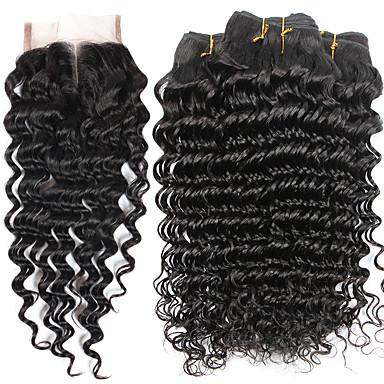 povoljno Ekstenzije od ljudske kose-4 paketi s zatvaranjem Brazilska kosa Duboko Val Ljudska kosa Ljudske kose plete 8-28 inch Priroda Crna Isprepliće ljudske kose Proširenja ljudske kose / 8A