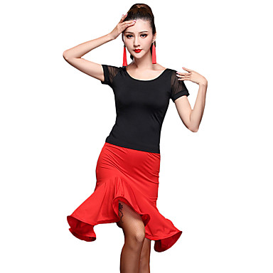 a9201af86 Latin Dance Outfits Women s Training Spandex   Tulle   Milk Fiber ...