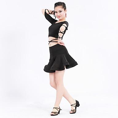 ชุดเต้นละติน Outfits Performance เส้นใยสังเคราะห์ / สแปนเด็กซ์ ครึ่งแขน ธรรมชาติ Top / กระโปรง