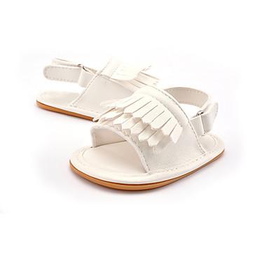 preiswerte Schuhe für Kinder-Mädchen Lauflern Kunstleder Sandalen Kinder / Kleinkinder (0-9 m) Quaste / Elastisch Gold / Weiß / Rosa Sommer