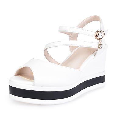 Mujer Zapatos Cuero Verano Talón Descubierto Sandalias Tacón Cuña Blanco / Negro / Fiesta y Noche Pour Pas Cher ETuqqU