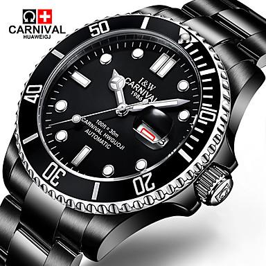 preiswerte Top Seller-Carnival Herrn Uhr Armbanduhr Mechanische Uhr Automatikaufzug Edelstahl Schwarz 30 m Armbanduhren für den Alltag Cool Tauchen Analog Klassisch Modisch Schwarz