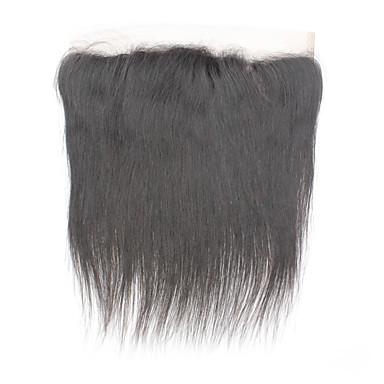 povoljno Ekstenzije od ljudske kose-Brazilska kosa Lace Front Ravan kroj Središnji dio / 3. dio / Side Part Švicarska čipka Remy kosa