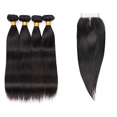 povoljno Ekstenzije od ljudske kose-4 paketi s zatvaranjem Indijska kosa Ravan kroj Virgin kosa Ljudske kose plete 8-26 inch Isprepliće ljudske kose 7a Proširenja ljudske kose / 10A