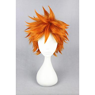 billige Kostymeparykk-Syntetiske parykker Kostymeparykker Rett Stil Asymmetrisk frisyre Parykk Blond Kort Gul Syntetisk hår Dame Blond Parykk