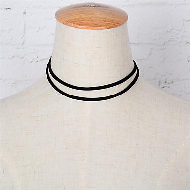 preiswerte Halsbänder-Damen Halsketten Europäisch Simple Style Doppelschicht Modisch Aleación Schwarz Modische Halsketten Schmuck Für Party Alltag Normal Sport