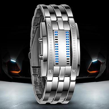 levne Pánské-Pánské Náramkové hodinky Digitální hodinky Digitální Nerez Černá / Stříbro 30 m Voděodolné LED Digitální Luxus - Černá Stříbrná