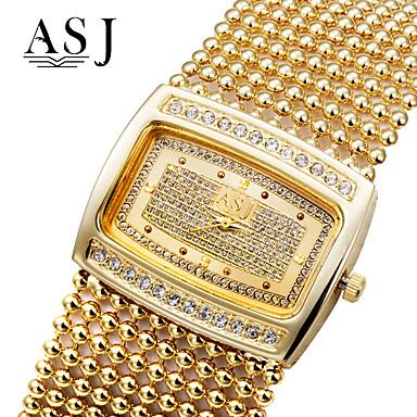 ieftine Ceasuri pătate și dreptunghiulare-ASJ Pentru femei Ceasuri de lux Ceas Brățară ceas de aur Quartz femei imitație de diamant Cupru Argint / Auriu Analog - Auriu Argintiu / Japoneză / Japoneză
