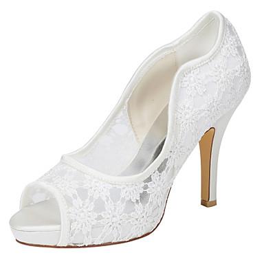 Mujer Zapatos Satén Elástico Primavera / Otoño Pump Básico Zapatos de boda Tacón Stiletto Dedo redondo Perla / Apliques Marfil / Boda wkg5sQ3G26