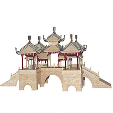 voordelige 3D-puzzels-DHZ-kit Bouwblokken 3D-puzzels Educatief speelgoed Legpuzzel Houten puzzels Speeltjes Vierkant Kasteel Beroemd gebouw Chinese